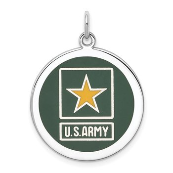 Sterling Silver Rhodium-plated US Army Star Disc