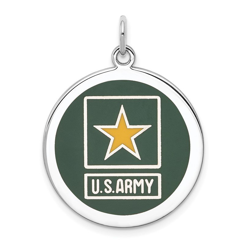 Quality Gold Sterling Silver Rhodium-plated US Army Star Disc