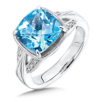 Sterling Silver Swiss Blue Topaz and Diamond Ring