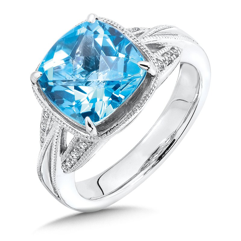 Colore Sg Sterling Silver Swiss Blue Topaz and Diamond Ring