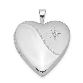 Sterling Silver Rhodium-plated Diamond Star Satin/Polished Heart Locket