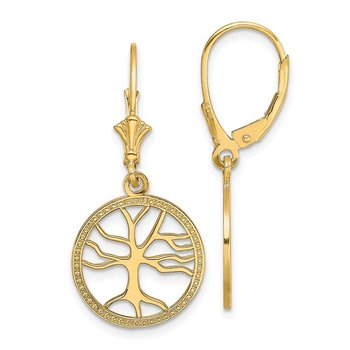 14K Tree of Life In Round Frame Leverback Earrings