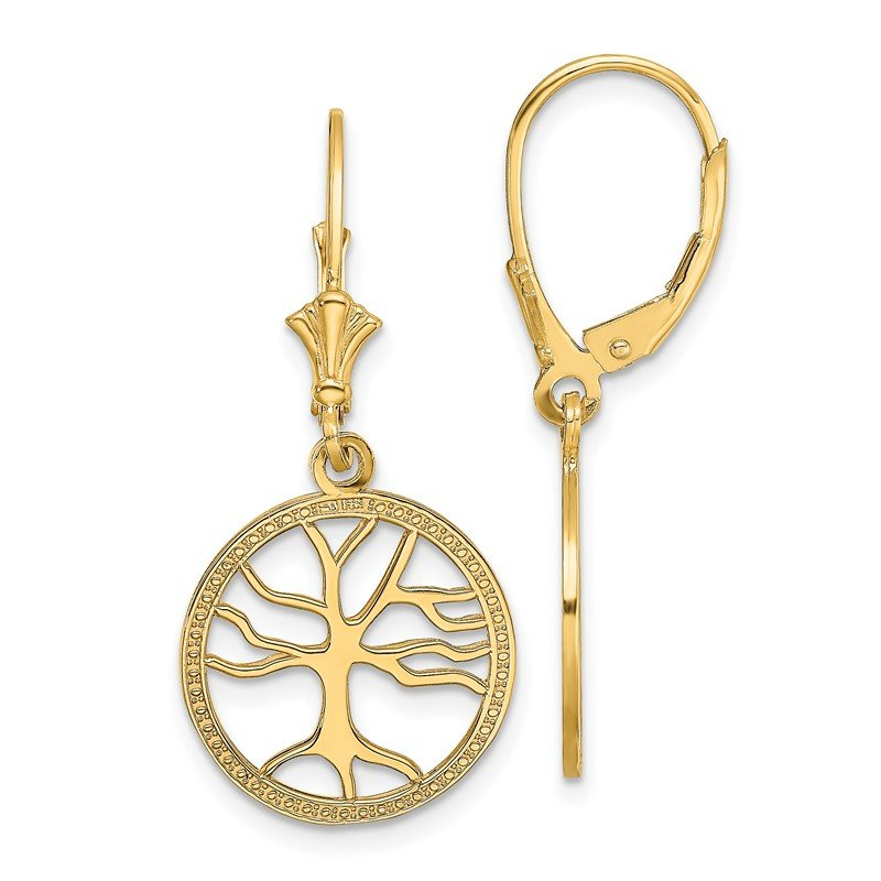 Quality Gold 14K Tree of Life In Round Frame Leverback Earrings