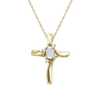 14K Yellow Gold White Topaz and Diamond Cross Pendant