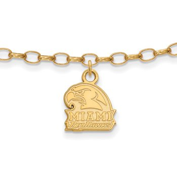 Gold-Plated Sterling Silver Miami University NCAA Bracelet
