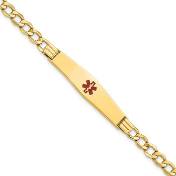 14K Semi-Solid Medical Soft Diamond Shape Red Enamel Curb ID Bracelet
