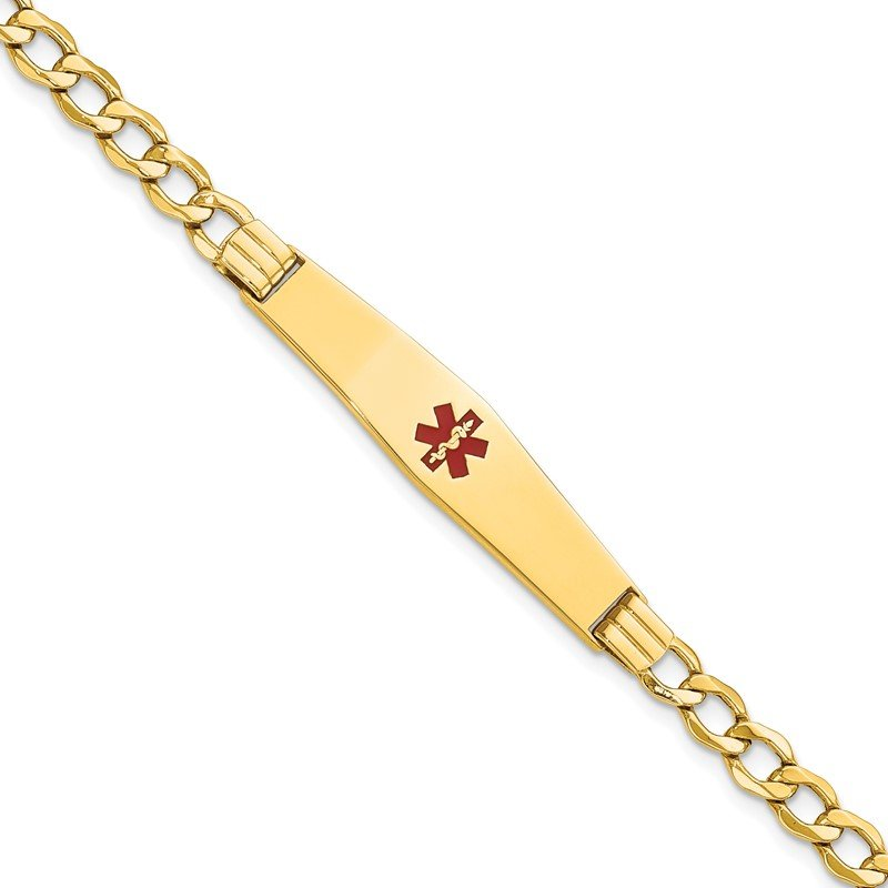 Quality Gold 14K Semi-Solid Medical Soft Diamond Shape Red Enamel Curb ID Bracelet