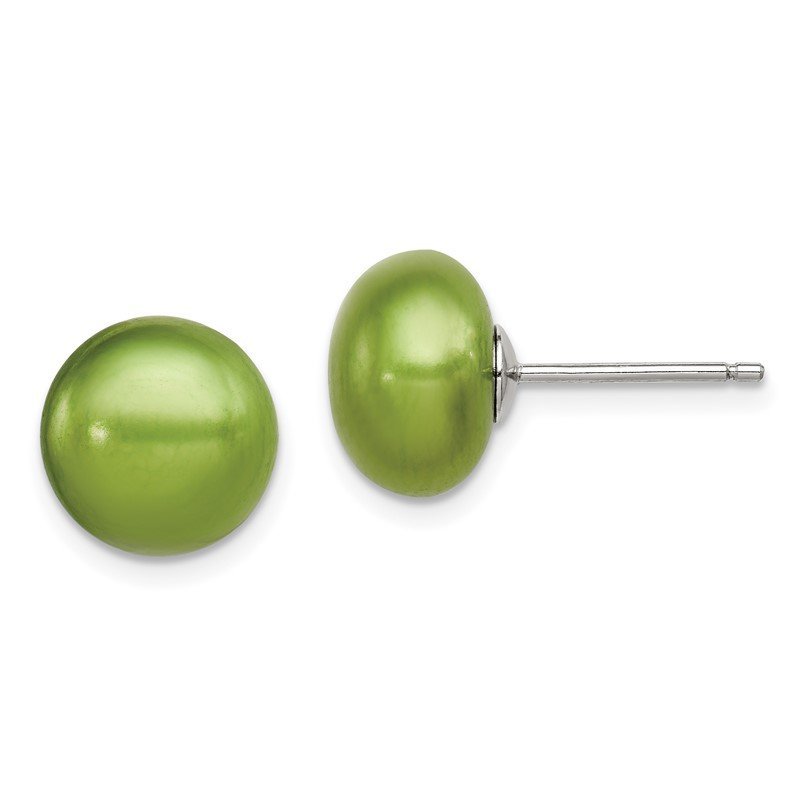 J.F. Kruse Signature Collection Sterling Silver 10-11mm FW Cultured Button Pearl Green Earrings