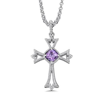 Sterling silver and purple amethyst cross pendant
