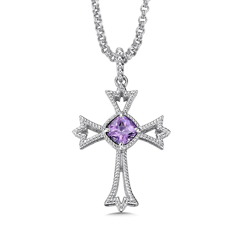 Colore SG Sterling silver and purple amethyst cross pendant