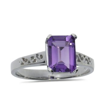 10k White Gold Emerald Cut Amethyst Ring