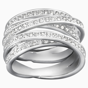 Spiral Ring, White, Rhodium Plating