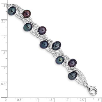 Sterling Silver Rhd-plt 7-9mm Black FWC Pearl & Glass Beaded Bracelet