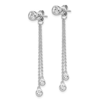 Sterling Silver RH-plated CZ Front and Back Dangle Chain Post Earrings