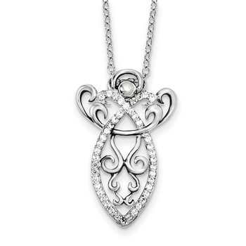 Sterling Silver CZ Antiqued Angel of Prayer 18in. Necklace