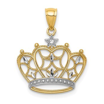 14K White Rhodium D/C Filigree Crown Pendant