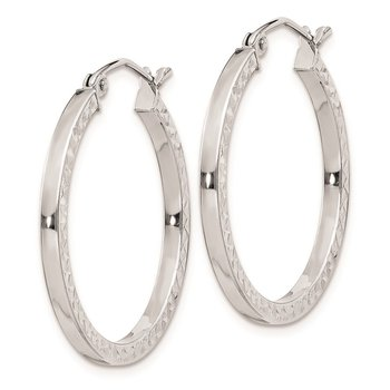 Sterling Silver Rhodium-plated Diamond-cut 2x25mm Square Tube Hoop Earrings