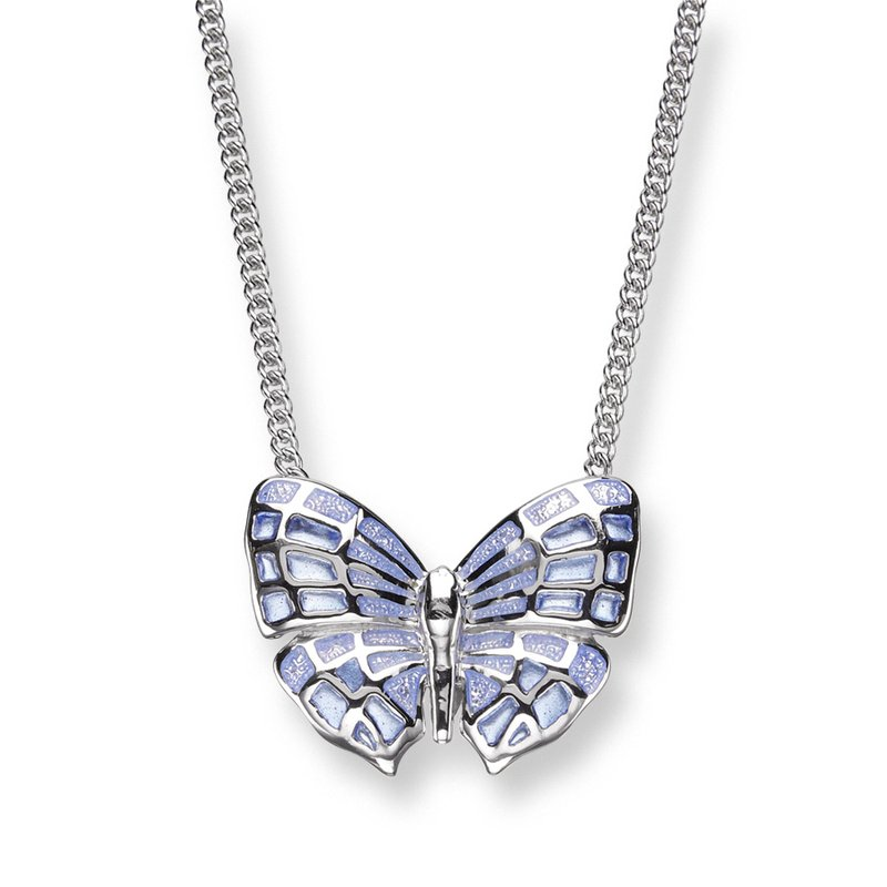 Nicole Barr Designs Blue Butterfly Necklace.Sterling Silver - Plique-a-Jour