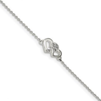 Sterling Silver Polished CZ Double Heart w/0.5in ext. Bracelet