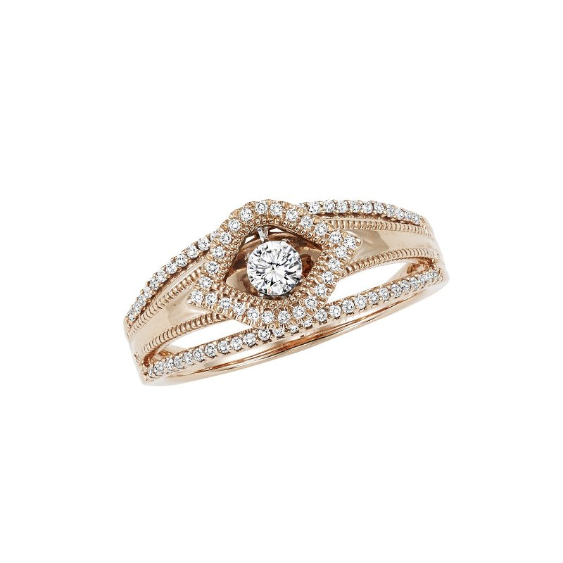 Rhythm of Love 14KP Diamond ROL Ring 1/4 ctw