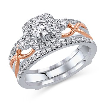 1ctw 14k White And Rose Gold With Double Wedding Band