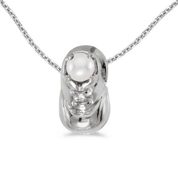 10k White Gold Pearl Baby Bootie Pendant
