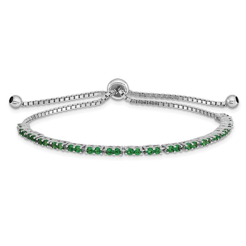 Quality Gold Sterling Silver Rhod-plated May Green CZ Adjustable Bracelet