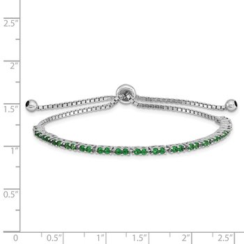 Sterling Silver Rhod-plated May Green CZ Adjustable Bracelet