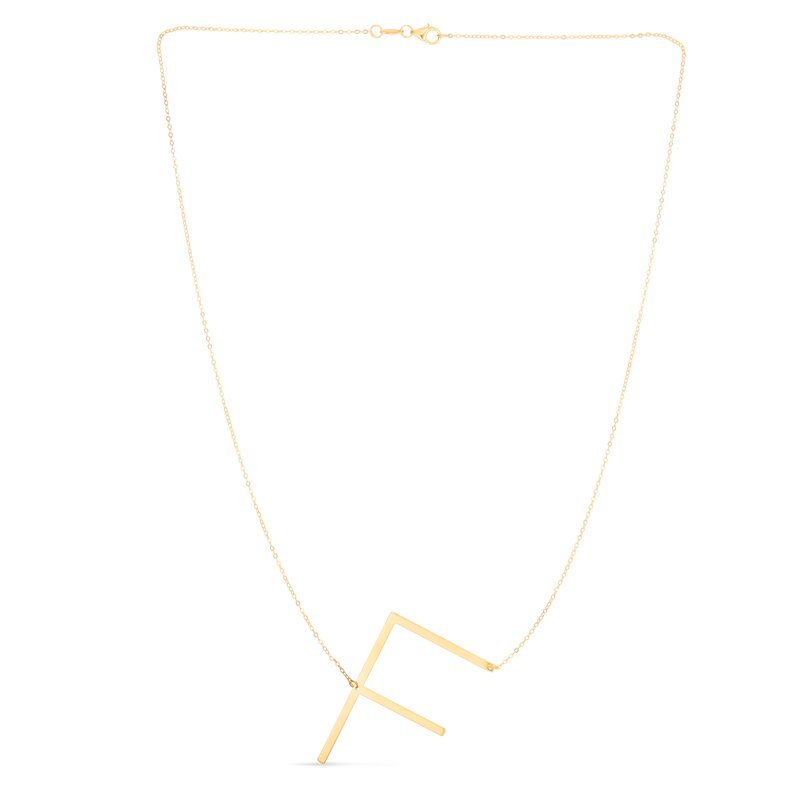 Royal Chain 14K Gold Large Initial F Necklace