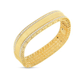 18KT GOLD SATIN FINISH BANGLE WITH DIAMOND EDGES