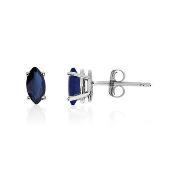 14k White Gold Sapphire Marquise Earrings