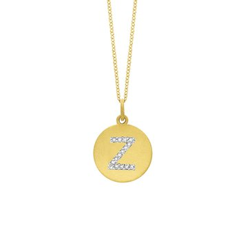 "Diamond Disc Initial ""Z"" Necklace in 14k Yellow Gold with 15 Diamonds weighing .08ct tw."