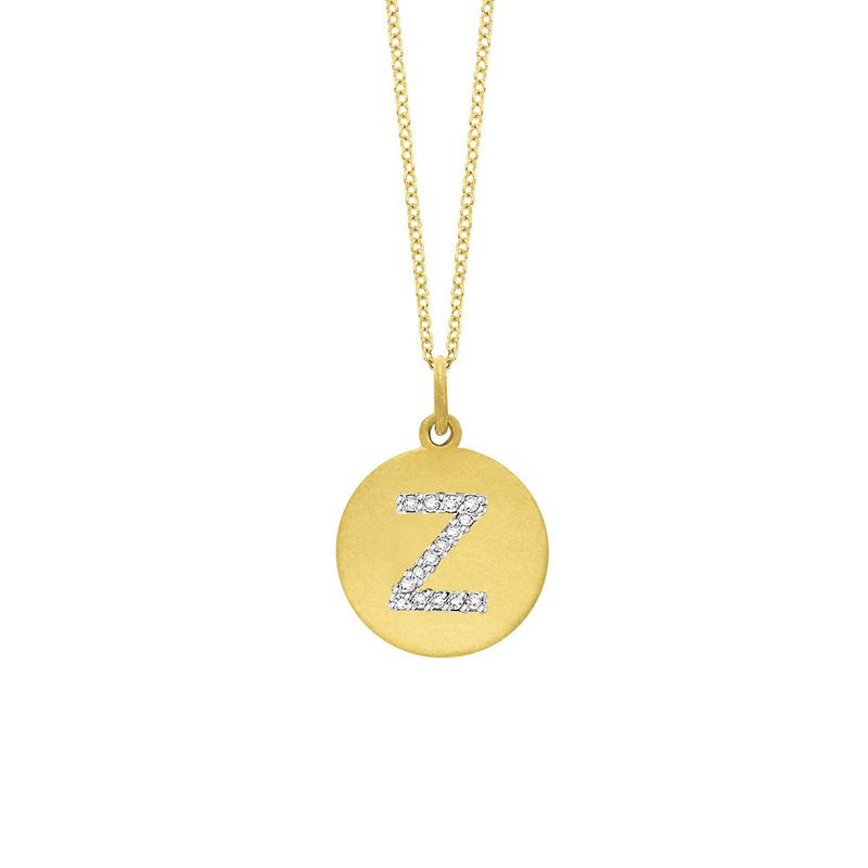 "KC Designs Diamond Disc Initial ""Z"" Necklace in 14k Yellow Gold with 15 Diamonds weighing .08ct tw."