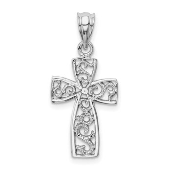 14k White Gold Filigree Cross Pendant
