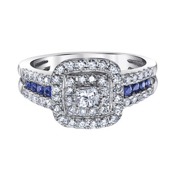 14K White Gold .98ctw With .34ctw Sapphires Totaling 1 1/3ctw