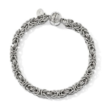 Leslie's Sterling Silver Polished Fancy Link Magnetic Clasp Bracelet