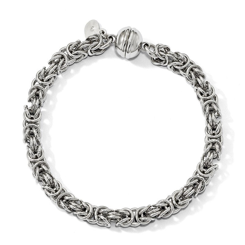 Leslie's Leslie's Sterling Silver Polished Fancy Link Magnetic Clasp Bracelet