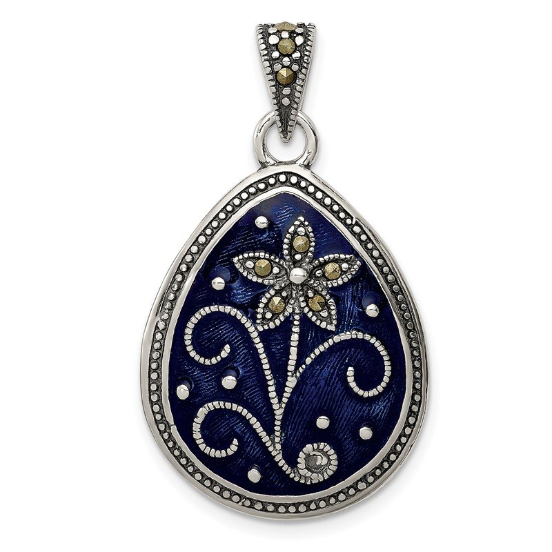 Fine Jewelry by JBD Sterling Silver Marcasite Blue Enamel Teardrop Flower Pendant