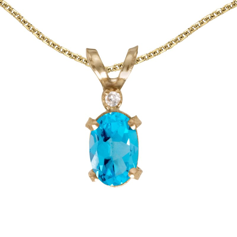 14k Yellow Gold Oval Blue Topaz And Diamond Filagree Pendant