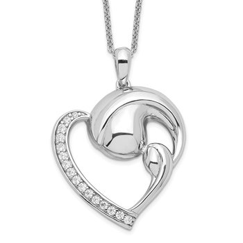 Sterling Silver CZ Motherhood 18in. Necklace