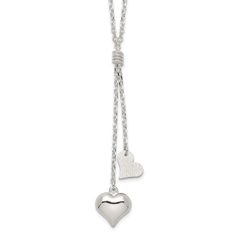 Sterling Silver Polished Textured Puffed Heart Fancy Drop Necklace