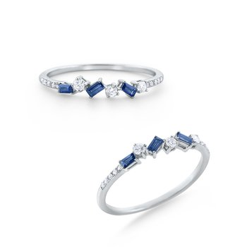 Sapphire & Diamond Stack Ring Set in 14 Kt. Gold