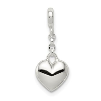 Sterling Silver Polished Heart 1/2in Dangle Enhancer