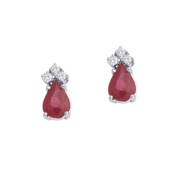 14k White Gold Ruby And Diamond Pear Shaped Earrings
