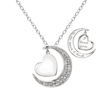 "Sterling Silver & Diamond ""I Love You to the Moon and Back"" Pendant"