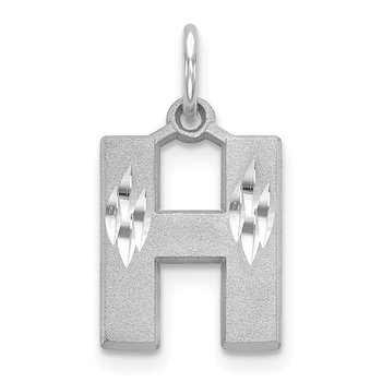 14KW Satin Diamond-cut Letter H Initial Charm