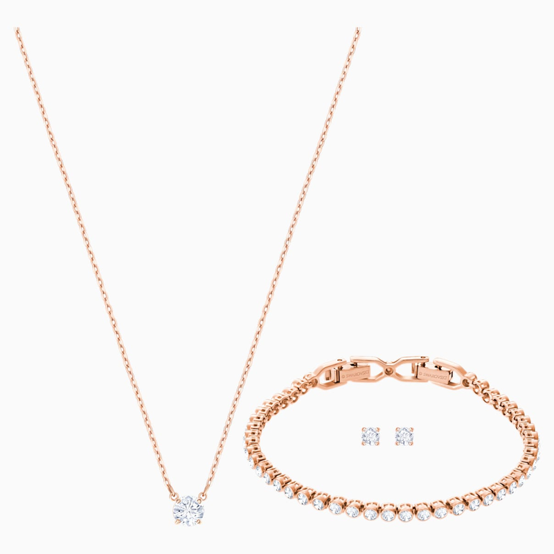 Swarovski Attract Emily Set, White, Rose-gold tone plated