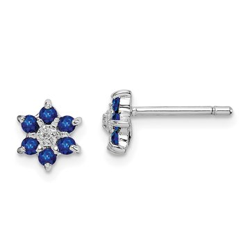 Sterling Silver Rhodium Sapphire & Diamond Post Earrings