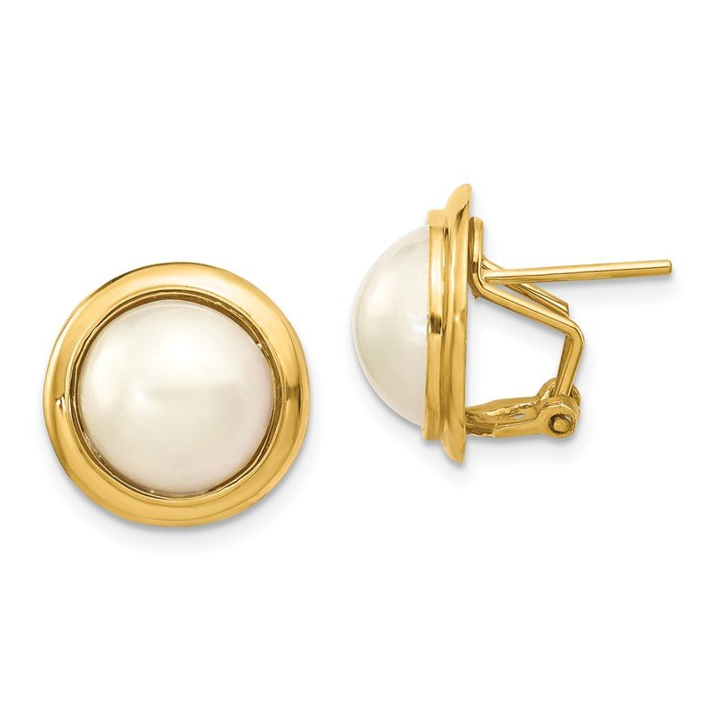 Quality Gold 14k 10-11mm White Freshwater Cultured Mabe Pearl Omega Back Earrings