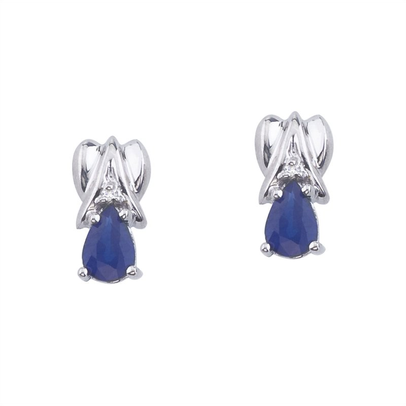 Color Merchants 14k White Gold Pear-Shaped Sapphire and Diamond Stud Earrings